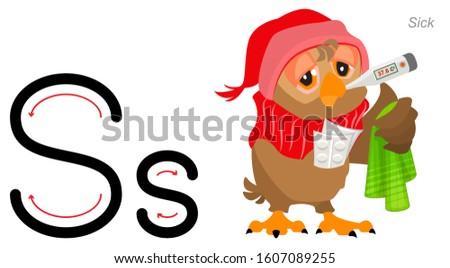 английский алфавит письме больным совы температура Сток-фото © orensila