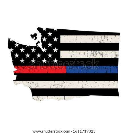 Waszyngton policji strażak wsparcia banderą amerykańską flagę Zdjęcia stock © enterlinedesign