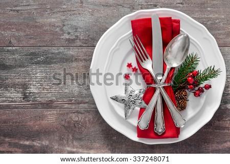 праздник таблице красный салфетку серебро приборы Сток-фото © Anneleven