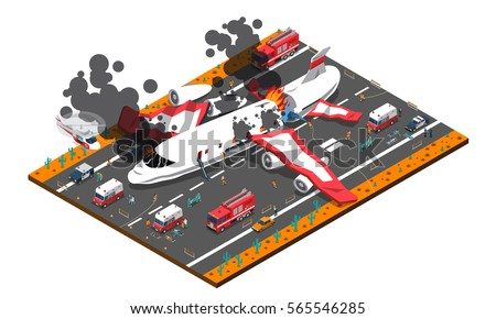 Vector isometric firefighting airplane and helicopter fighting wildfires Stock photo © tele52