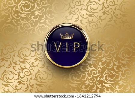 Vip niebieski etykiety złoty pierścień ramki Zdjęcia stock © Iaroslava