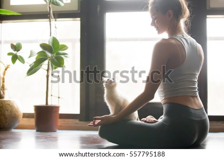 Young sporty woman practicing yoga sitting in lotus pose with namaste in dark room Stock photo © GVS