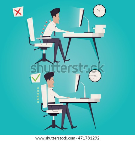 Corregir incorrecto atrás sesión posición buena Foto stock © designer_things