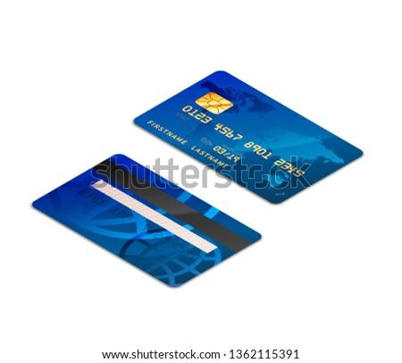 青 現実的な クレジットカード チップ 両方 アイソメトリック ストックフォト © evgeny89