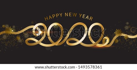 Happy New Year 2020. The inscription is made of curved gold ribbons. Golden numbers with ribbons and Stock photo © sanyal