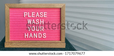 COVID-19 handwashing hand hygiene coronavirus message text for washing your hands. Corona virus felt Stock photo © Maridav