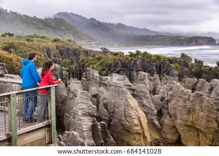 Punakaiki Pancake Rocks tourists couple travel in Paparoa National Park, West Coast, South Island, N Stock photo © Maridav