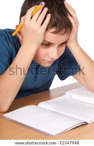 Schoolboy being stressed by his homework, isolated on white back Stock photo © dacasdo