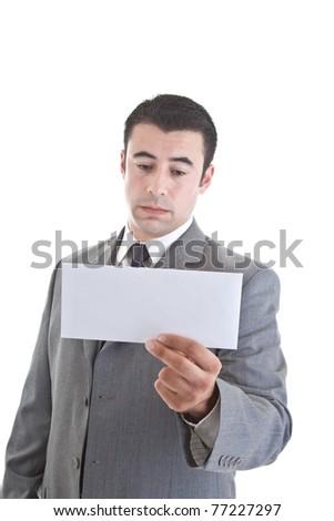 Triste hispanique homme regarder enveloppe Photo stock © Qingwa
