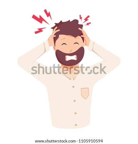 closeup of a young business man having a stress headache again stock photo © hasloo