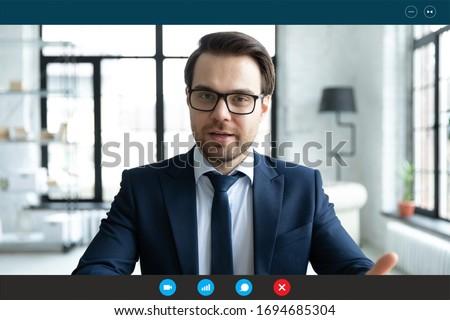 Portré üzletember magyaráz projekt kolléga iroda Stock fotó © HASLOO