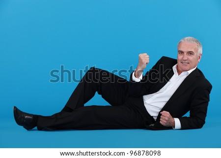 Volwassen zakenman leggen vloer ja Stockfoto © photography33