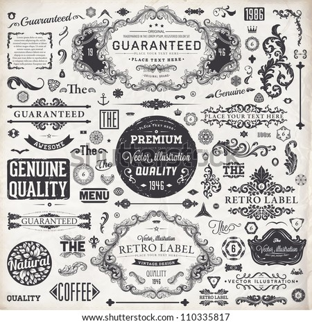 set of grunge retro vector labels and frames invitation ornamen stock photo © designer_things