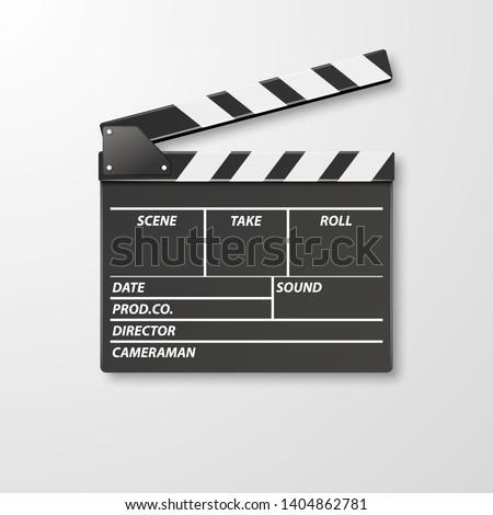 movie clapper, clapboard, clapperboard, film slate in black ligh Stock photo © experimental
