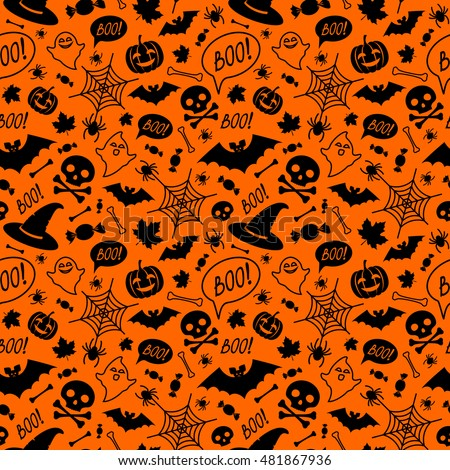 naadloos · halloween · patroon · pompoenen · snoep - stockfoto © AnnaVolkova