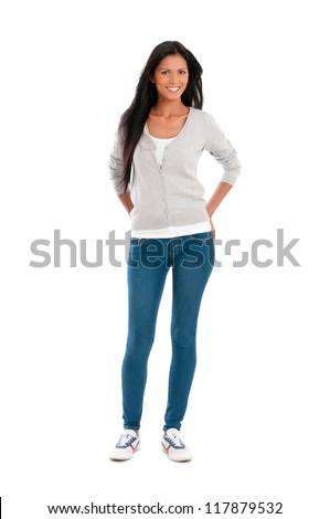 Teljes alakos portré lenyűgöző fiatal hölgy pózol Stock fotó © stockyimages