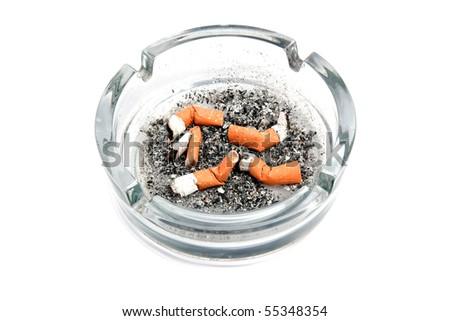 Glas asbak sigaret geïsoleerd witte licht Stockfoto © deymos