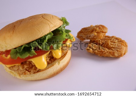 Delicious shrimp burger on the plate. Isolated on white backgrou stock photo © moses