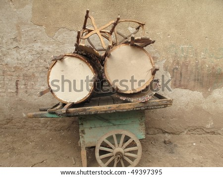 Cart from Table Vendor in streets of Egyptian city unattended. Stock photo © mybaitshop