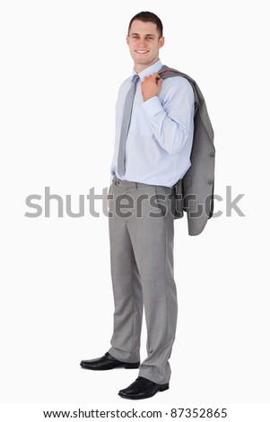 Souriant affaires manteau épaule blanche affaires Photo stock © wavebreak_media