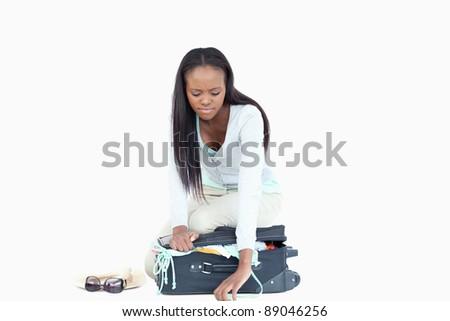 Stock fotó: Fiatal · nő · problémák · befejezés · bőrönd · fehér · szépség