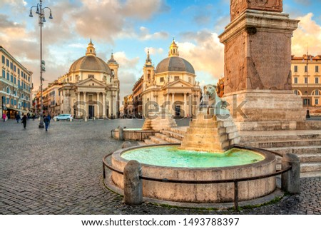 Rome - church of Santa Maria dei Miracoli in Piazza del Popolo Stock photo © wjarek