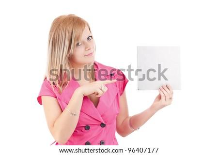 Grave mujer rubia senalando dedo blanco moda Foto stock © wavebreak_media