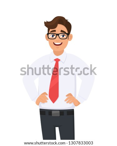 Portrait of a smiling employee arms on hips against white background Stock photo © wavebreak_media