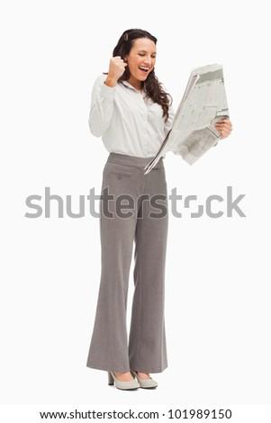 восторженный сотрудник чтение Новости белый газета Сток-фото © wavebreak_media