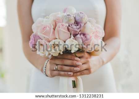 romance refined young woman with bunch of colorful flowers beauty stock photo © gromovataya