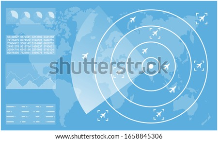 radar · repülőgép · repülőgép · vektor · égbolt · földgömb - stock fotó © krabata