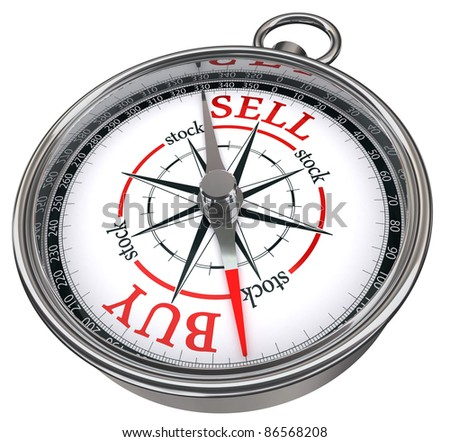 Stock photo: buy vs sell business concept compass isolated on white backgroun