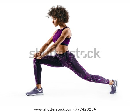 fitness woman stretching full body isolated on white background stock photo © andersonrise
