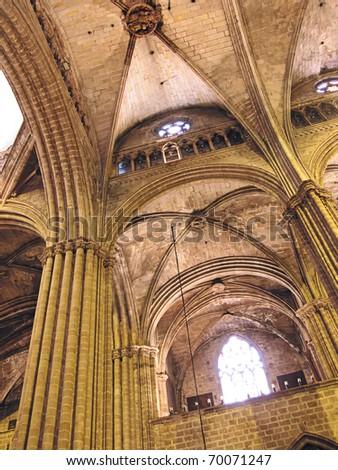 steen · kolommen · gothic · katholiek · Barcelona · kathedraal - stockfoto © billperry