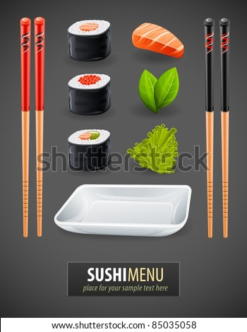 Sushi details of japanese cuisine - ingredients, fish, chopsticks and plate. Vector illustration Stock photo © Hermione