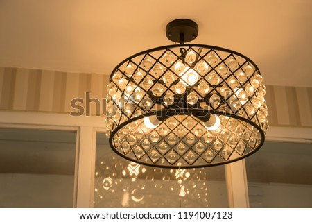 Chrystal chandelier close-up. Glamour background with copy space Stock photo © dashapetrenko