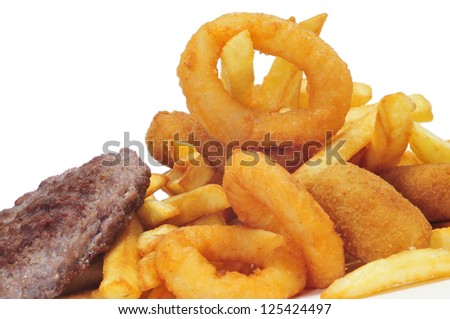 spanish combo platter with croquettes, calamares and french frie Stock photo © nito