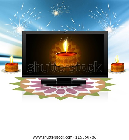 beautiful celebration happy diwali led tv screen festival brochu stock photo © bharat