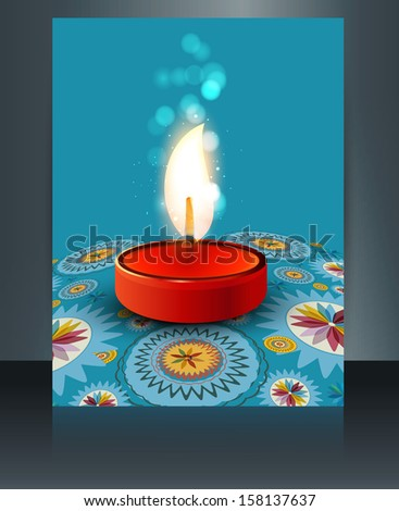 beautiful diwali card reflection blue colorful brochure template stock photo © bharat