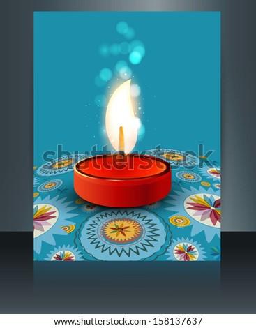 Stock photo: Beautiful diwali card reflection blue colorful brochure template
