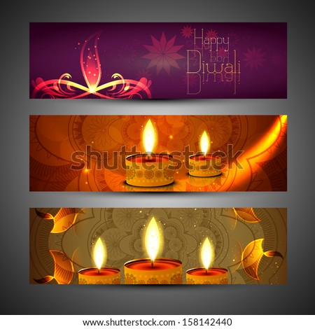 beautiful set of three diwali headers bright colorful illustrati stock photo © bharat