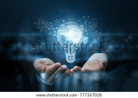 Invention - electricity of brain, light bulb and electric voltage Stock photo © Winner