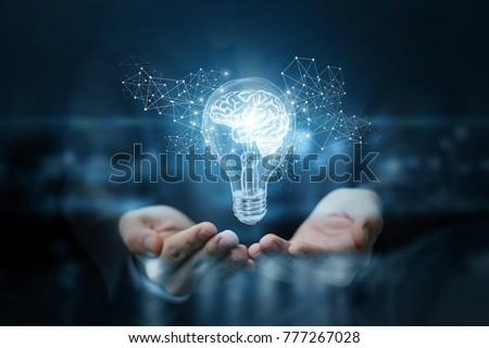 Invención electricidad cerebro bombilla eléctrica voltaje Foto stock © Winner