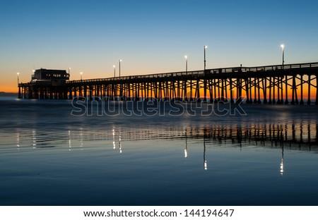 Zdjęcia stock: Plaży · California · molo · wygaśnięcia · złoty · sylwetka