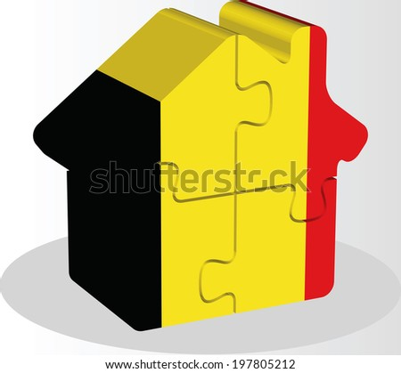 house home icon with Belgian flag in puzzle isolated on white ba Stock photo © Istanbul2009