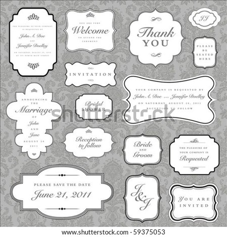 set of ornate vector frames and ornaments with sample text perf stock photo © leonido