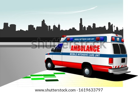 modern ambulance van on city background colored vector illustra stock photo © leonido