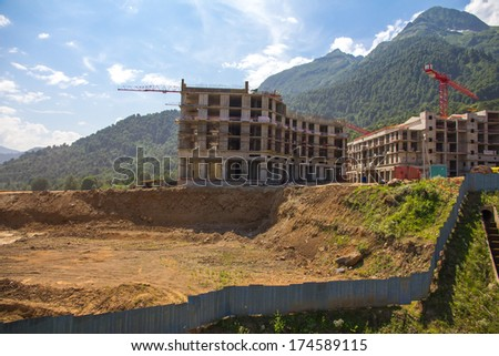 Buildings, construction site, green hills, road and transparent hexagons Stock photo © cherezoff