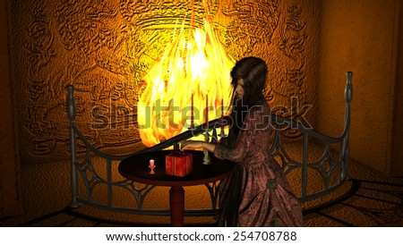 Young Woman with Victorian Dress near Fireplace opening a Gift Box Stock photo © ankarb