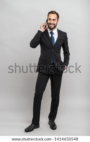 Portret zakenman smartphone witte telefoon pak Stockfoto © deandrobot